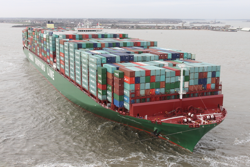 The 2nd biggest container ship in the world, full of containers, as it sails from China to the UK.