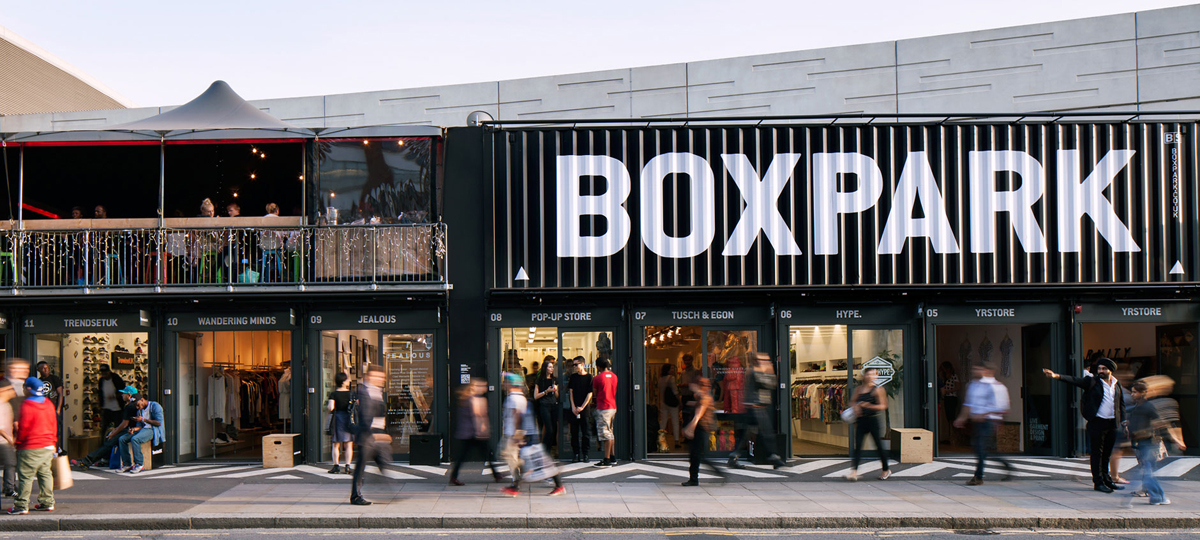 Boxpark Pop Up Shipping Container Mall