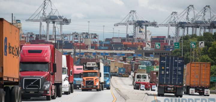 Hundreds of Trucks coming and going at a container port
