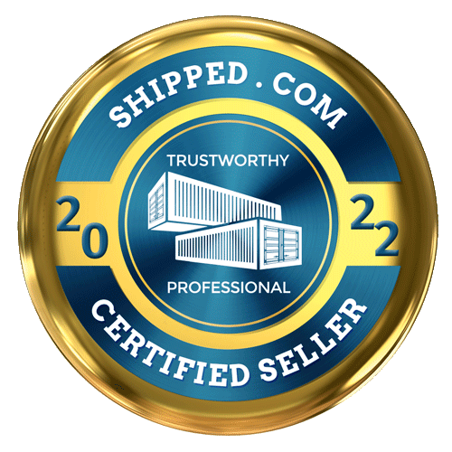 Shipped.com is a certified container seller badge in gold 2021