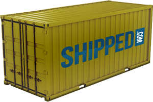 A 20 foot shipping container in gold color with the Shipped.com logo on the side