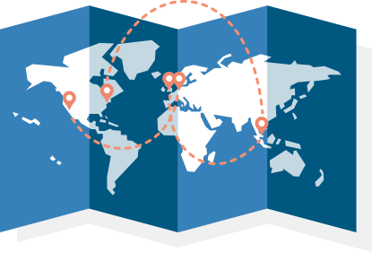 2 globes showing a globally interconnected shipping container marketplace
