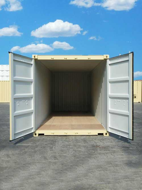 a new 20 foot conex container in beige color
