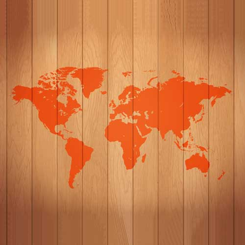 a map of the world shown on wood trim