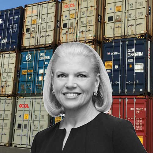 black and white headshot of Ginni Rometty with blue & creme shipping containers behind her