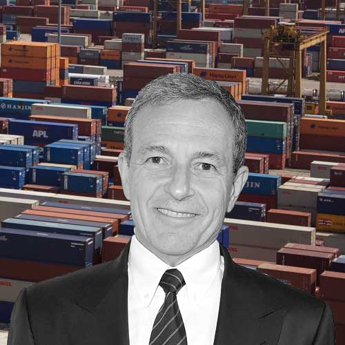 black and white pic of Robert Iger with thousands of shipping containers in the distance