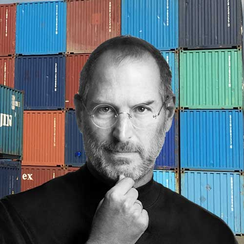 black and white headshot of Steve Jobs with multi-colored shipping containers in the background