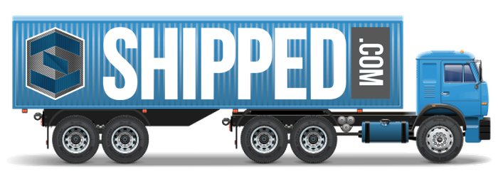 a shipped.com shipping container delivery truck