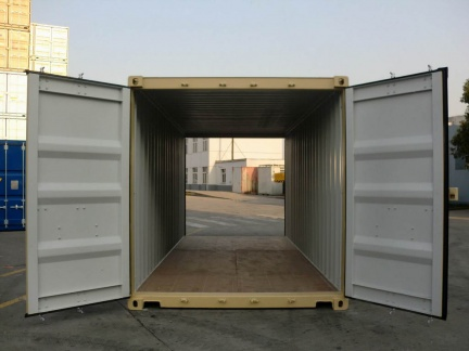 A 20 foot standard height (8 1/2 feet tall) double-door tunnel shipping container shown with both doors open in RAL 1001 color