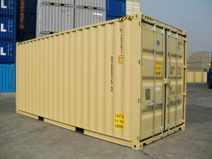 A 20 foot high-cube (9 1/2 feet tall) shipping container shown on angle in RAL 1001 color