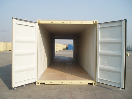 A 40 foot standard height (8 1/2 feet tall) tunnel shipping container with double doors shown with all doors open in RAL 1001 (creme/beige) color