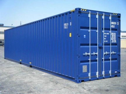 A 40 foot high-cube (9 1/2 feet tall) shipping container shown on angle in blue
