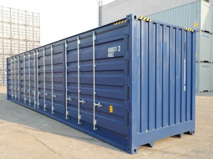 A 40 foot high-cube open-side height (9 1/2 feet tall) shipping container with the side doors open shown on an angle in blue color