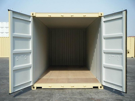 A 20 foot standard height (8 1/2 feet tall) shipping container shown on angle in RAL 1001 color